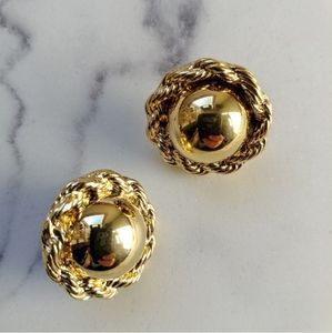 Trifari ▪ Vintage Gold-Tone Domed Earrings